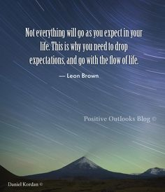 Not everything will go as you expect in your life. This is why you need to drop expectations, and go with the flow of life. — Leon Brown