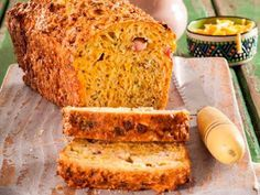 A wonderful savoury loaf that needs no butter or filling – just slice and pack it in your lunchbox. Flavored Butter, Good Food, Yummy Food, Easy Cheese, South African Recipes, Cooking Recipes, Bread Recipes, Yummy Recipes, Recipies