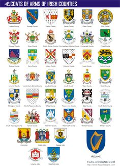 counties of ireland | Irish County Crests / Ireland County Coats of Arms. Cool, have to look mine up.