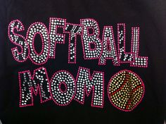 Softball mom pink zebra  rhinestone hot fix by LaLaBoutiqueBling, $8.99