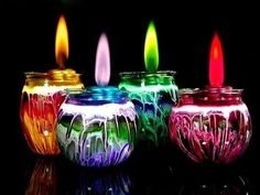 We love these unique lights and initially assumed their magic colors came from LEDs or some other hi-tech gadget or gizmo. Imagine our surprise when we discovered that the flames on these lanterns and candles actually burn in color...