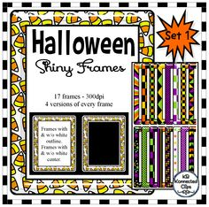 "Halloween Shiny Frames Set 1 - $  The frames have a ""shiny"" look and really stand out in a crowd.   There are 17 colorful frame options and each one comes in 4 variations.  -without white outlines (great on light papers) -with white outlines (great on darker papers) -without white centers (add a black or chalkboard paper in the center for a neat look) -with white centers 68 images in all! https://www.teacherspayteachers.com/Product/Halloween-Shiny-Frames-Set-1-2102760"