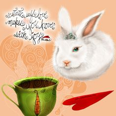 Ecstatic self love makes YOU hover with joy!  What my Coffee says to me April 10 - drink YOUR life in - hop to it beautiful 'hoverbun' and bask in self love! When you love yourself you have truckloads of carrots (love) to share with all! (What my Coffee says to me is a daily, illustrated series created by Jennifer R. Cook for your bunnerific mental health) #coffee #ecstatic #selflove #hover #joy #fillyourheart #heartfull #whitebunny #tiara #float #lovefloats #hoverbunny #art #illustration
