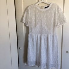 """Forever 21 eyelet sundress Great used condition. Yellowing at the top of the back, but very unnoticable. Pictured in 3rd photo. Dress is about 32"""" long. 18"""" laying flat at bust. Perfect for summer. Price negotiable! Make an offer Forever 21 Dresses Mini"""
