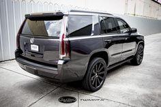 Cadillac Escalade with Custom Santo-2SS Rims. Cadillac Escalade fully customized by Tire and Wheel Master. #Cadillac #Escalade Wheels Rims goo.gl/JLCbo9