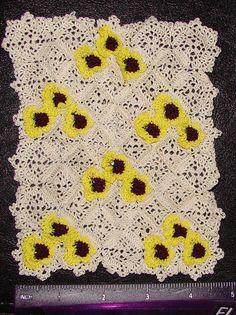 Dollhouse miniature 1:12 Hand stitched crochet dollhouse Afghan in Yellow, Burgundy, & Black Pansies by CDHM Artisan Michelle Osinski of Tiffsniffer's Tiny Things, www.cdhm.org/user/mosinski