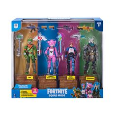 Fortnite Squad Mode 4 Figure Pack Ragnarok, Rex, Cuddle Team Leader, and Brite Bomber Action figures - inspired by four of the most popular skins from Epic Games Figurines D'action, Vinyl Figures, Action Figures, Squad, Ri Happy, Harvesting Tools, Game Of Survival, Epic Games Fortnite, Battle Royale