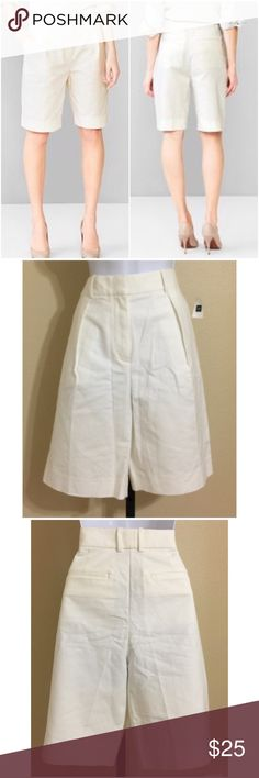 🎉HP 4/9🎉Gap Bermuda Shorts Size 4 Gap Women's Bermuda, Walking Shorts Size 4 White Color Zip Front 1 Hidden Button & 2 Vertically Stacked Hidden Metal Clasp Closure 2 Front Pockets 2 Rear Pockets Belt Loops Machine Washable 97% Cotton 3% Spandex Inseam Approx. 10 Inches Rise Approx. 13 Inches Waist Approx. 29 Inches Hips Approx. 38 Inches Cuff Approx. 22 Inches Compare Measurements To Your Own Well Fitting Garment To Ensure A Great Fit MSRP $ 49.95 New With Tag GAP Shorts Bermudas