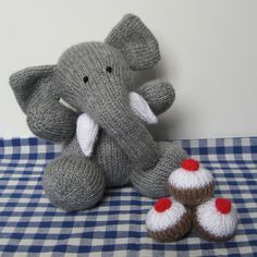 Bloomsbury Elephant toy knitting pattern - fun to knit toy animal and little cakes pdf pattern with instant download - $3.00