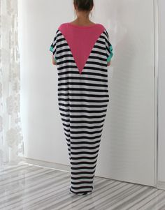 White and Black Striped Maxi Dress by cherryblossomsdress on Etsy