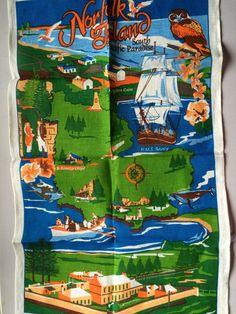 Vintage Souvenir Tea Towel Pure Linen: Norfolk Island