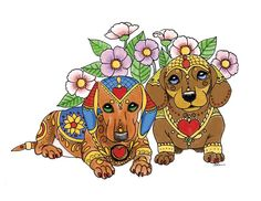 www.etsy.com/shop/artbyeddy  Art of Dachshund Coloring Book Vol 2 Coloring Book Art, Adult Coloring, Dachshund Puppies, Dachshunds, Weiner Dogs, Daschund, Dog Stories, Atc Cards, Puppy Mills