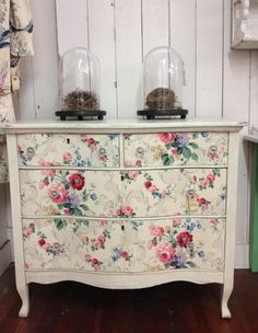Dresser with vintage wallpaper drawers at Summer Cottage Antiques in Petaluma, CA.