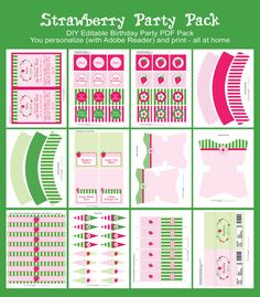 Strawberry Shortcake Birthday Party INSTANT by SIMONEmadeit
