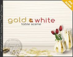 Gold Table Styling | Gold Vases Confetti Ribbon Red Tulips White Table | Blank wall Styled Stock Photography | JPG Styled Table Scene T8-1