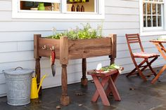 How to Build a Raised Herb-Garden Planter   Article says $120-140 Project. With repurposed pallet lumber and salvaged porch posts or table legs this project could easily be made for $20... or less!