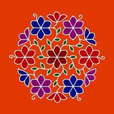 Simple flower dot rangoli design