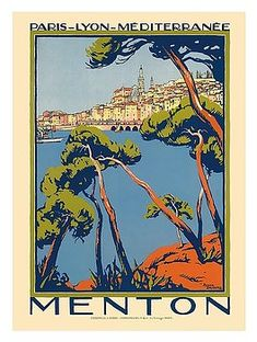 menton,france,railway,french riviera,mediterranean,vintage world travel poster ,roger broders,vintage travel poster,retro,poster art,vintage advertising,vintage travel,