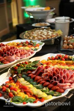 Beautiful Food Display with Meat and Veggie platters