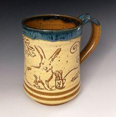 A Gold and Blue Bunny Mug by FirehorsePottery on Etsy, $24.00