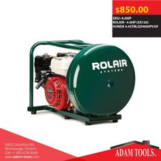 Great deals here at Adam Tools Inc. ROLAIR - 4.0HP (GX120) HONDA 4.4CFM,GD4000PV5H Visit our website for more information and special offers  https://www.adam-tools.com/4-0hp-gx120-honda-4-4cfm-gd4000pv5h.html #canada #mississuaga #power_tools #building_supplies #powertools #contractors #subcontractors #construction #generalcontractor #Rolair