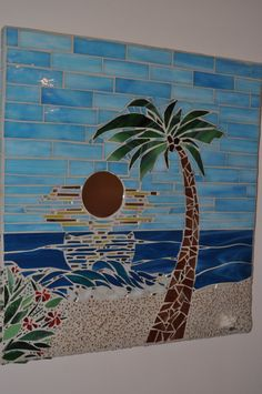 Stained Glass Mosaic Tropical Beach by apomps on Etsy 235 00 Mosaic Tile Art, Mosaic Artwork, Mosaic Crafts, Mosaic Projects, Mosaic Glass, Mosaic Mirrors, Stained Glass Panels, Stained Glass Patterns, Mosaic Patterns