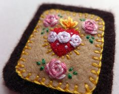 Embroidered Brown Scapular: Small Sacred Heart of Jesus and Immaculate Heart of Mary With Pink and Purple Rose Trio