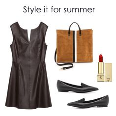 Pair your leather dress with minimalist extras like a matte red lip, structrued tan tote and pointed flat loafers for a day at the office.