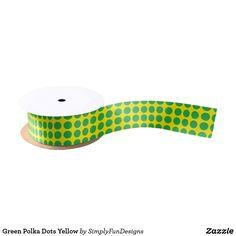 Green Polka Dots Yellow Satin Ribbon