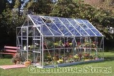 Halls Magnum Silver 8x14 Greenhouse shown with 3mm Horticultural Glazing  http://www.greenhousestores.co.uk/Halls-Magnum-Silver-8x14-Greenhouse-3mm-Horticultural-Glazing.htm