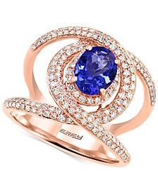 Final Call by EFFY® Tanzanite (1-1/8 ct. t.w.) & Diamond (5/8 ct. t.w.) Statement Ring in 14k Rose Gold