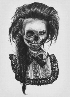 Victorian woman skeleton tattoo