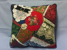Crazy Quilted Pillow.