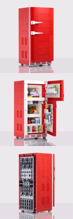 'Retro Refrigerator' custom LEGO kit by Chris McVeigh