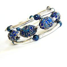 Blue, Silver, Memory Wire Bracelet, Handmade Jewelry via Etsy