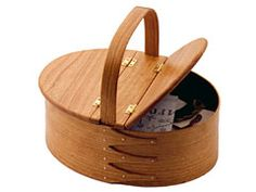 """$93 Shaker Double Hinged Oval Carrier - 10 5/8"""" x 7 1/2"""" x 4 1/2"""" high. Overall height is 8 3/4"""". Keeps needlework projects clean + out of the way. The Shaker community used its traditional oval boxes for needlework, sewing notions for Sisters doing handiwork"""