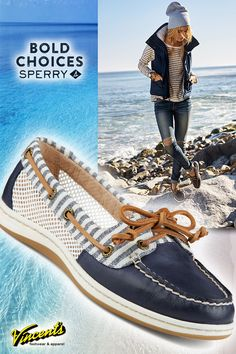 Bold choices. The latest styles  from Sperry ,like the Firefish stripe pictured, are daring, vivid, and adventurous....just like you. Since 1935, Sperry has built the tools for life's adventure, and since 1938 Vincent's has brought the expedition to your door step. Take a voyage today.