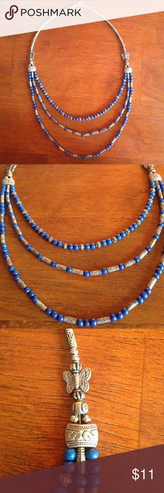 "Lapis lazuli triple strand necklace Laps lazuli beads and silver tone butterflies and beads 18"" with triple strands. Jewelry Necklaces"