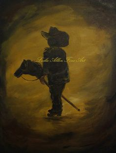 Little Cowboy Boy Cowboys Painting Western by LeslieAllenFineArt, $65.00