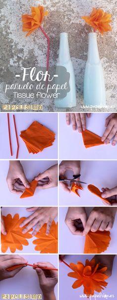 Flor de papel con pañuelo de papel   Tissue Flower   http://papelisimo.es/flor-de-papel-con-panuelo-de-papel/