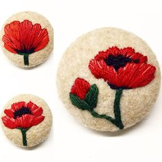 Embroidered Poppies  ~