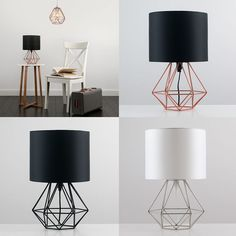 Decorative Retro Geometric Table Lamp with Drum Shade Bedside Home Lighting - Geometric Decor Living Room Lighting, Bedroom Lighting, Home Lighting, Modern Lighting, Industrial Lighting, Lighting Stores, Table Lighting, Bedside Lighting, Bedside Table Lamps