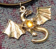 Dragon Pendant Necklace - Silver Tone