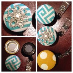 DIY badge reel with Velcro so you can switch patterns.
