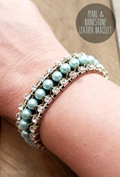 Spring Pearl and Rhinestone Bracelet http://www.flamingotoes.com/2014/04/pearl-and-rhinestone-leather-bracelet/