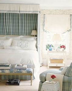 Love this bedroom by Ashley Whitaker with the huge monograms on the pillows
