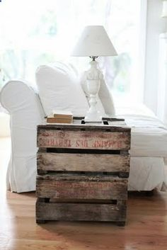 pallet side tables - would be great to make them in a open square so we could still slide baskets underneath for storage.