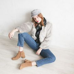 Kristina Magdalina - Poppy Lovers Faux Fur Biker Jacket, Lightinthebox Boots - Faux Fur Biker Jacket