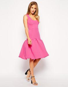 pink dropped waist peplum hem dress // $127