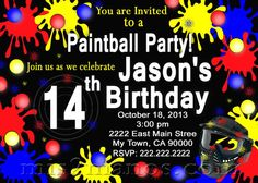 Printable Paintball Birthday Party Invitation Teen Party Invite